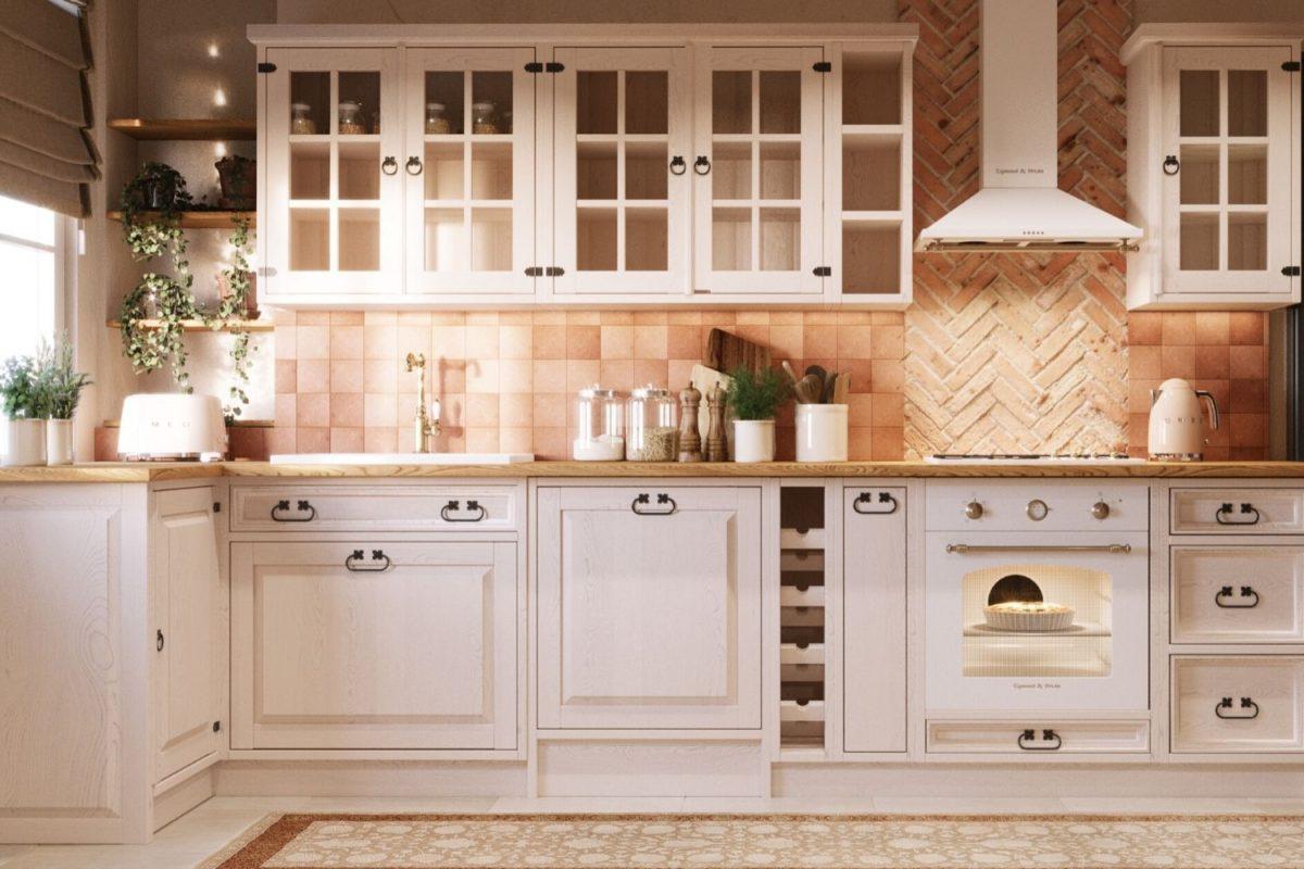 białe meble z drewna do kuchni
